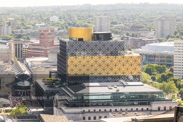 Aerial photograph of Birmingham City Centre, England. The New library of Birmingham.