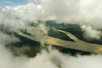 Aerial view of clouds over the Ria Branco, Rio Negro tributary, Amazon rainforest, Amazonas, Brazil, February 2011.