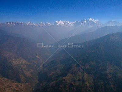 NEPAL Shorong Himal -- 16 Apr 2005 -- Aerial photograph of Mount Numbur (right, 6,959m), Mount Khatang (top centre right, 6,8...