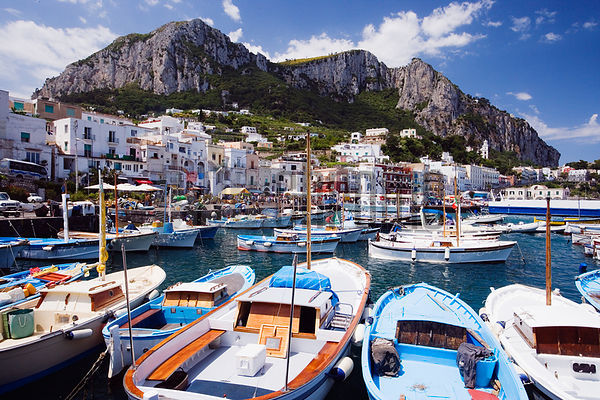 Italy, Capri, view from harbour at Marina Grande