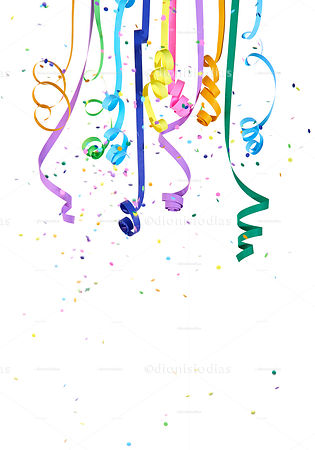 Serpentines and colorful confetti falling and depended on white background