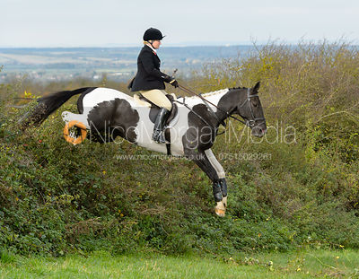Georgie Mason jumping a hedge above Clawson Thorns