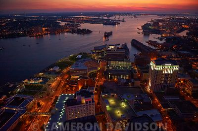 Downtown Norfolk Virginia at night.