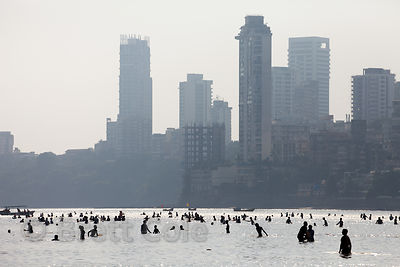 Crowds gather on Chowpatty Beach and Back Bay (Arabian Sea) to celebrate the Ganesh Chaturthi festival in Mumbai, India.