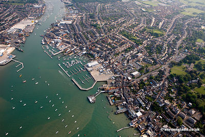 aerial photograph of the Cowes Isle of Wight  England UK