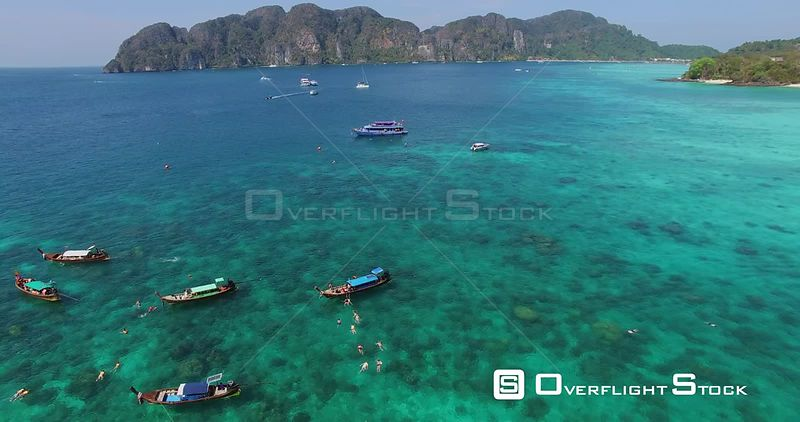 Boating Swimming and Snorkelling off Long Beach Ko Phi Phi Don Island Thailand Drone Footage