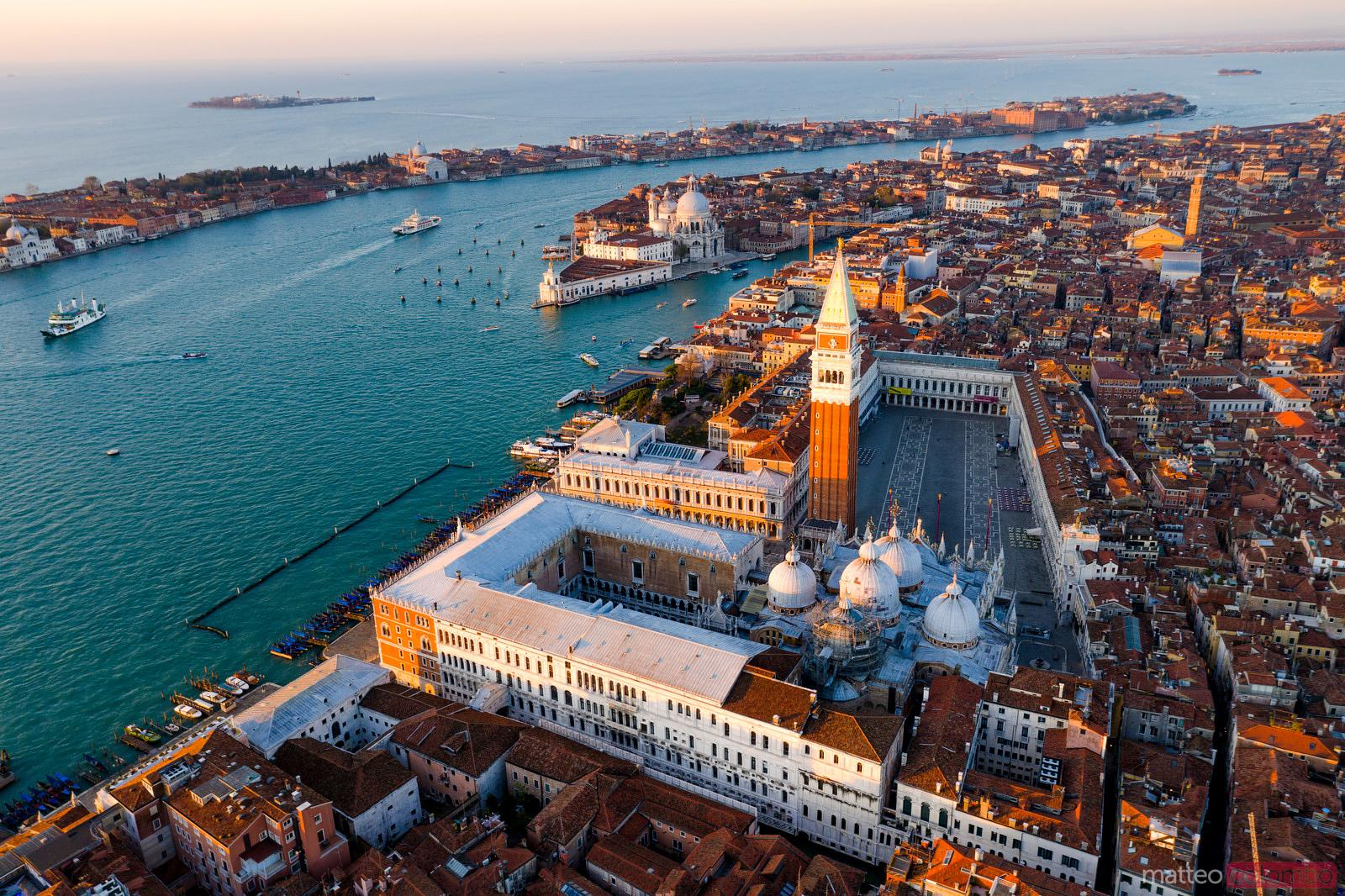 Aerial view of St Mark's square at sunrise, Venice, Italy
