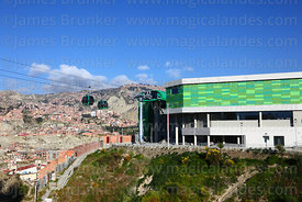Green Line cable car station in Obrajes, La Paz, Bolivia