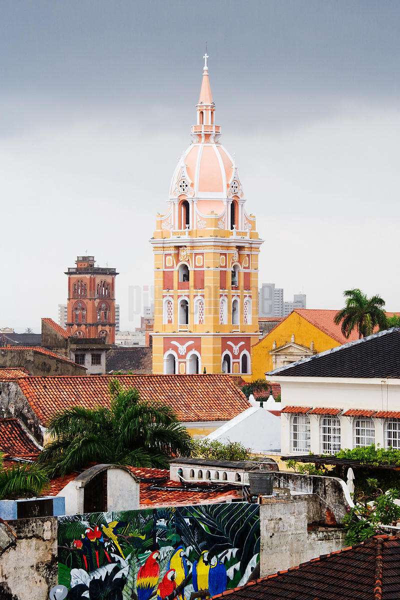The Cathedral over the Rooftops of Cartagena Colombia