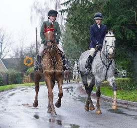 Sophie Walker and Charlotte Barnes - The Cottesmore Hunt at Belton-in-Rutland 21/12