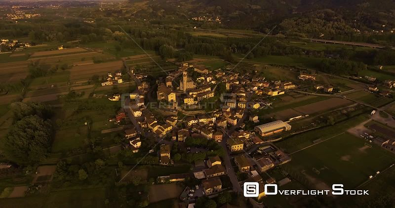 Drone Video Tuscan Hamlet Nozzano Castello on the hill in the sunset light in Italy