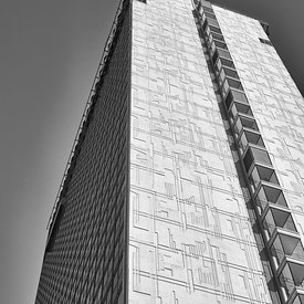 Cityscape | Black and white canvas wall art | for sale | Skyscraper against a clear sky
