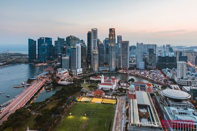 Elevated view of financial district at sunset, Singapore