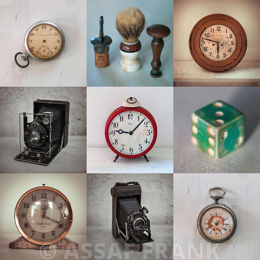 Collage of old clocks, cameras,dice,shaving brush and pocket watches