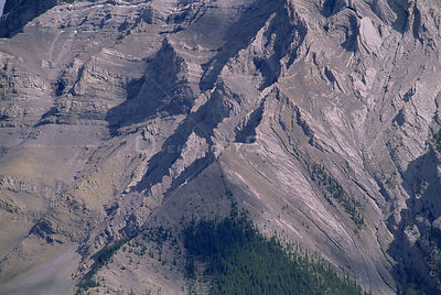 Aerial view of Mount Rundle above tree line, Banff National Park, Alberta, Canada