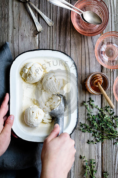Honey & Lemon Thyme Ricotta Ice Cream with Vanilla