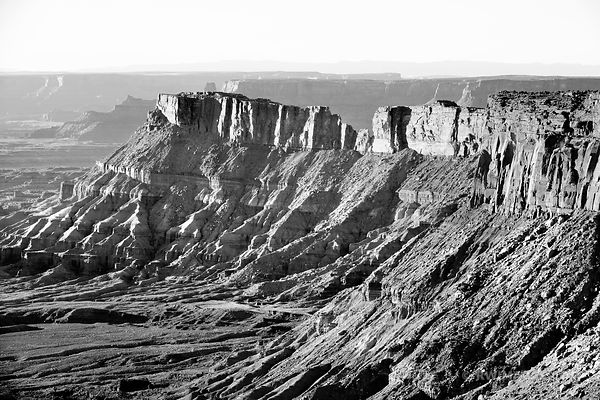 NEEDLES OVERLOOK  SUNSET CANYONLANDS NATIONAL PARK UTAH BLACK AND WHITE