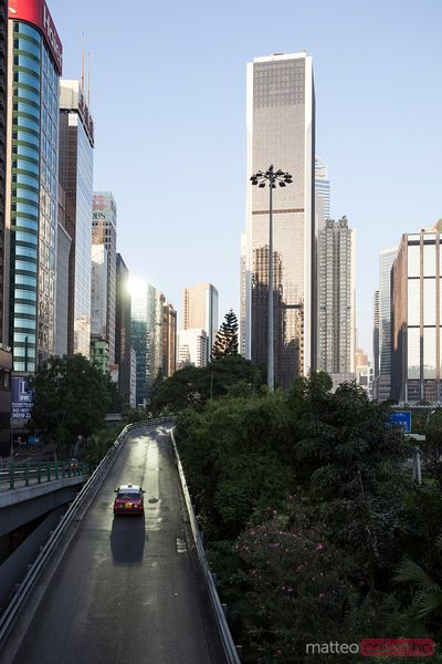 Hong Kong streets in the business district at sunrise