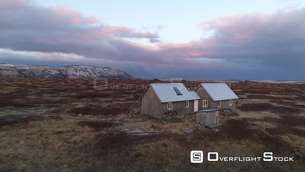 Drone Video Isolated Cabin near Keldur Iceland