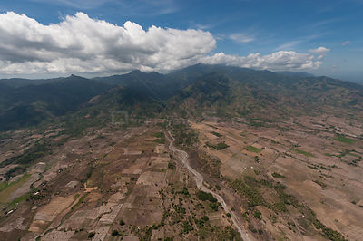 Aerial view of agricultural landscape of Palawan which has resulted in deforestation of the lowland forest adding to siltatio...
