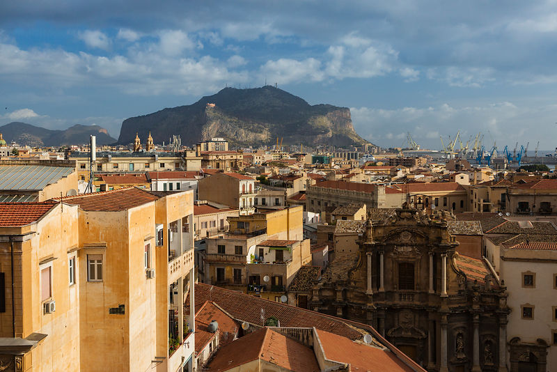 Elevated View of the Center of Palermo and Monte Pellegrino