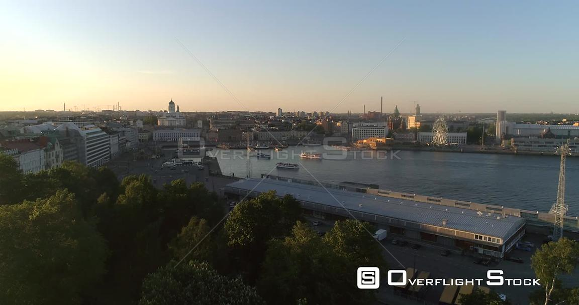 Helsinki City, Aerial Rising Tilt View of Helsinki Cathedral, in the South Harbor Bay, on a Sunny Summer Evening Dusk, in Hel...