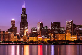 Chicago Skyline at Night High Resolution Image