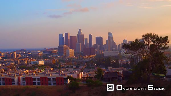 Downtown Buildings Los Angeles Sunset Boom up and Pull up California