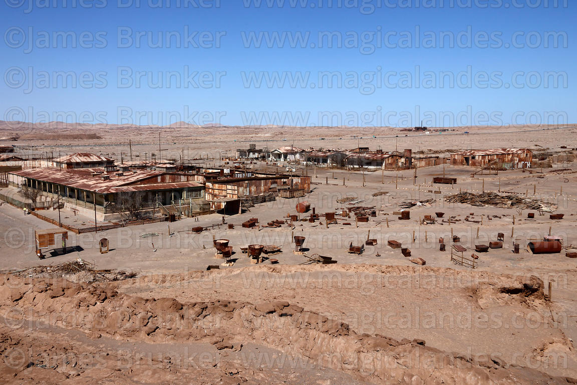 View over residential section of abandoned nitrate mining town of Humberstone, Region I, Chile
