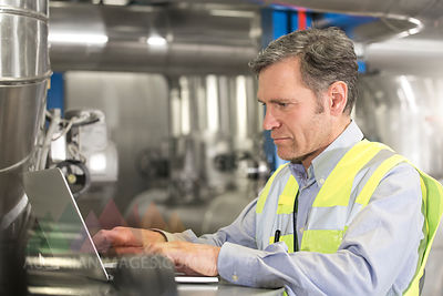 Man wearing reflective vest using laptop in industrial plant