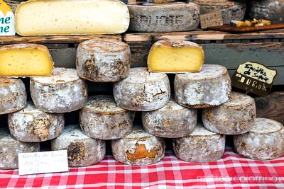 Assortment of local cheese at market, Provence, France