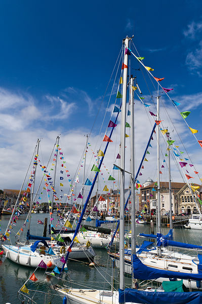 Weymouth yachts with bunting