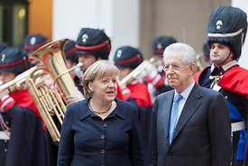 Mario Monti and Angela Merkel.