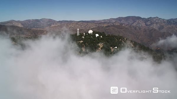 Flying Past Mount Wilson Observatory in the Rugged San Gabriel Mountains of California.