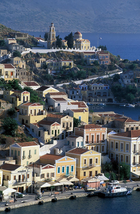 Aerial view of a harbour town on the coast of the island of Simi (Symi), Dodecanese Islands, Greece