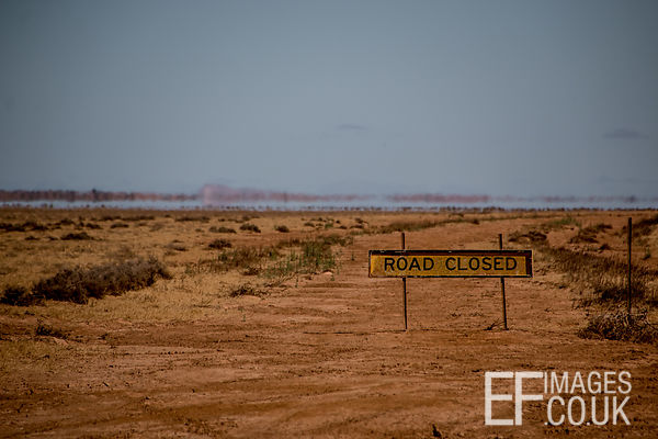 Road Closed And A Mirage Just Outside The Simpson Desert, South Australia