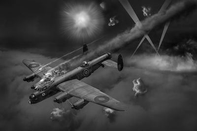 Lancaster KB799 under fire B&W version