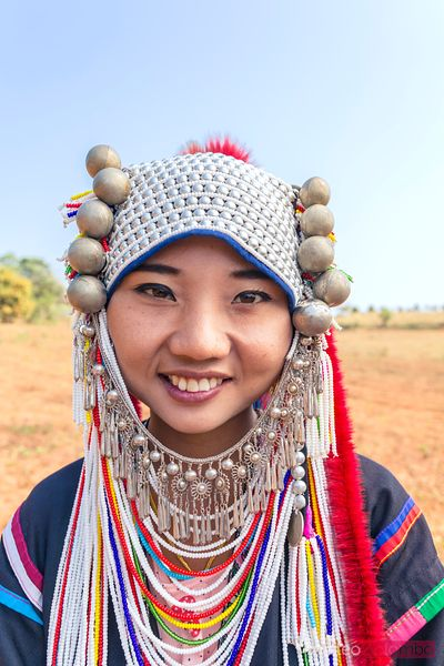 Portrait of woman of Ahka tribe, Chiang Rai, Thailand