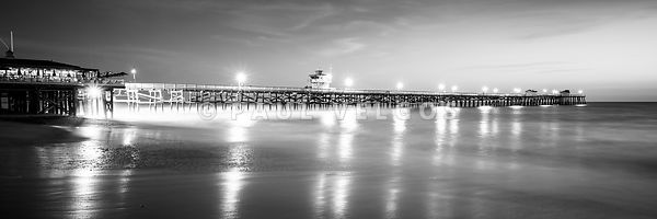 San Clemente Pier Black and White Panorama Picture