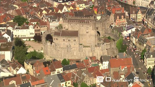 Orbiting Gravensteen Castle in Ghent, Belgium
