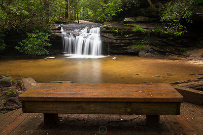 Waterfall with Bench
