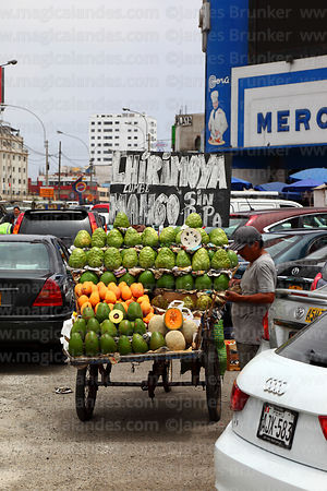 Fruit cart selling chirimoya, avocados and melons outside market, Miraflores, Lima, Peru