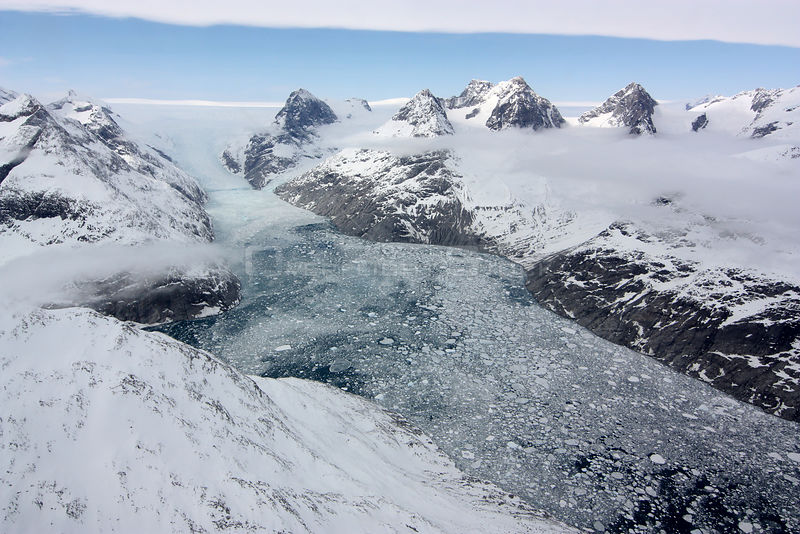 GREENLAND -- 25 Apr 2012 -- The top image, captured during an IceBridge flight, shows a glacier in southern Greenland