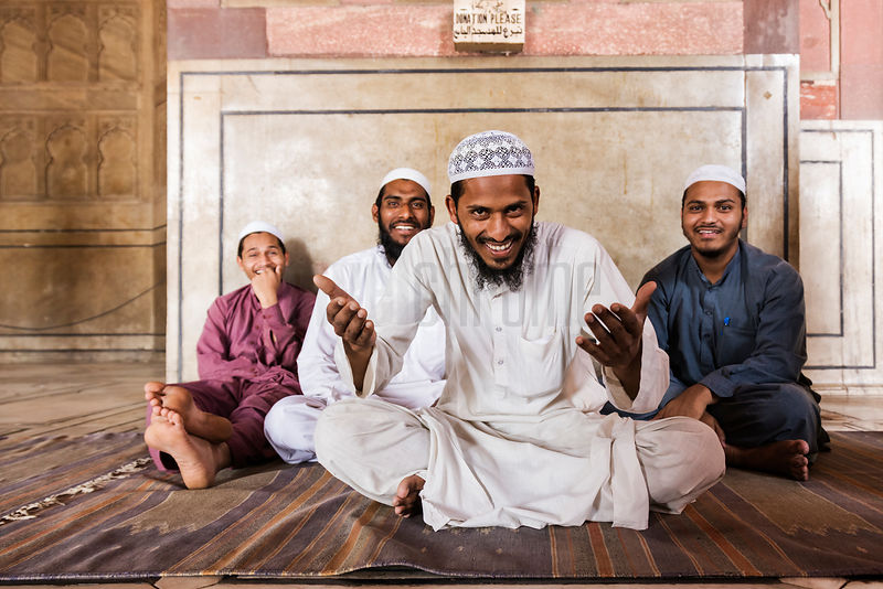 Muslim Men in Jama Masjid Mosque