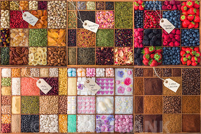 Collage of food ingredients in wooden boxes