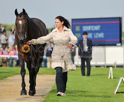 Kate Walls trotting up Sidnificant for Clare Lewis - 2nd Inspection - Burghley 2010