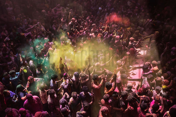 Revellers Playing Holi at the Shri Banke Vihari Mandir