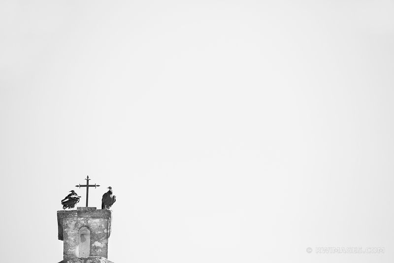 TWO VULTURES AND A CROSS MISSION CONCEPCION SAN ANTONIO TEXAS BLACK AND WHITE