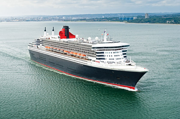 Aerial View of Cunard's QM2 Leaving Southampton
