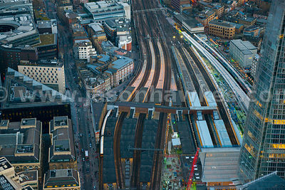 Aerial view of London Bridge Station at dusk, London